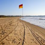 Flag on the beach, Miramar Beach, Panjim, Goa, India