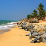 Beach of Ullal village near Mangalore with big stones, Karnataka, India