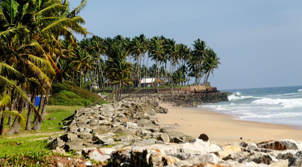 Kollam, Kerala, India- the coastal line of Arabian sea- Panaroma