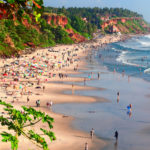 View of Varkala beach, Kerala from a cliff