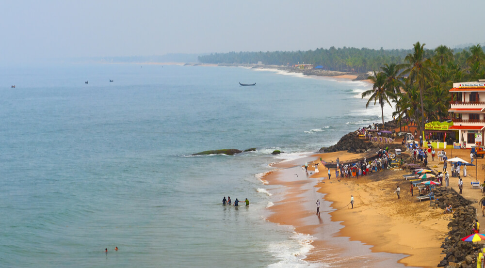 View of the Samudra beach in Kovalam, Kerala, India