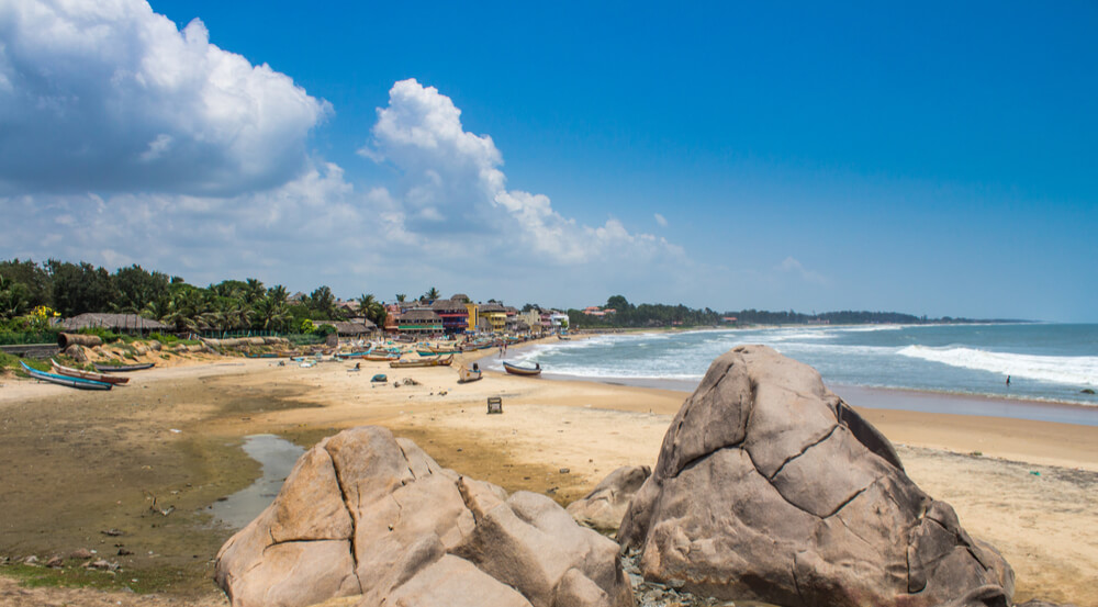 The beach at Mahabalipuram village, Tamil Nadu, India