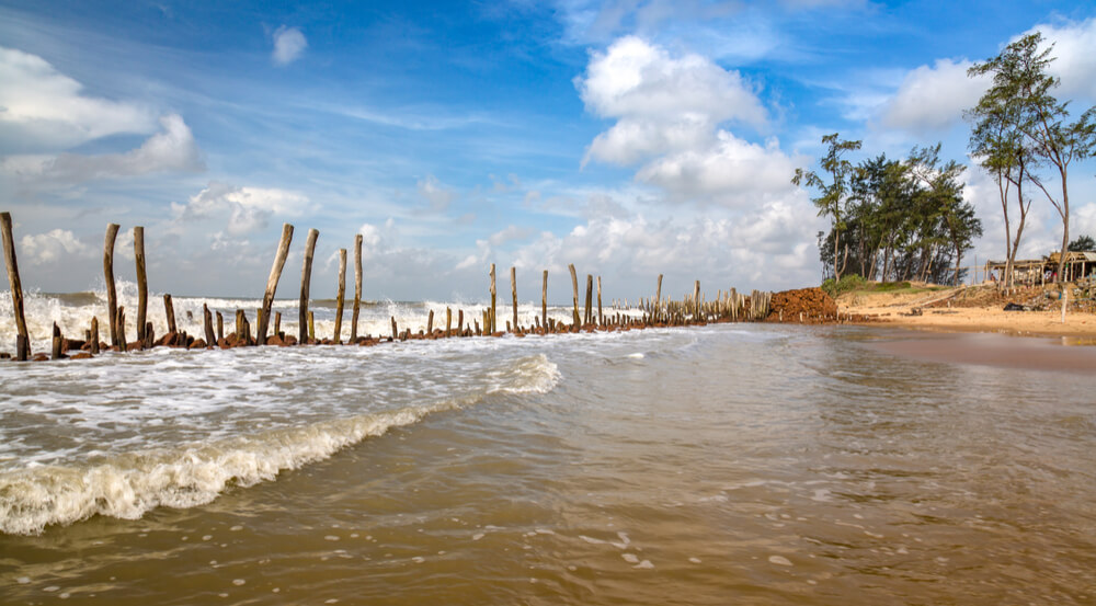 Scenic Indian sea beach at Tajpur, West Bengal, India