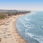 Beauty Arambol beach aerial view landscape, Goa state in India