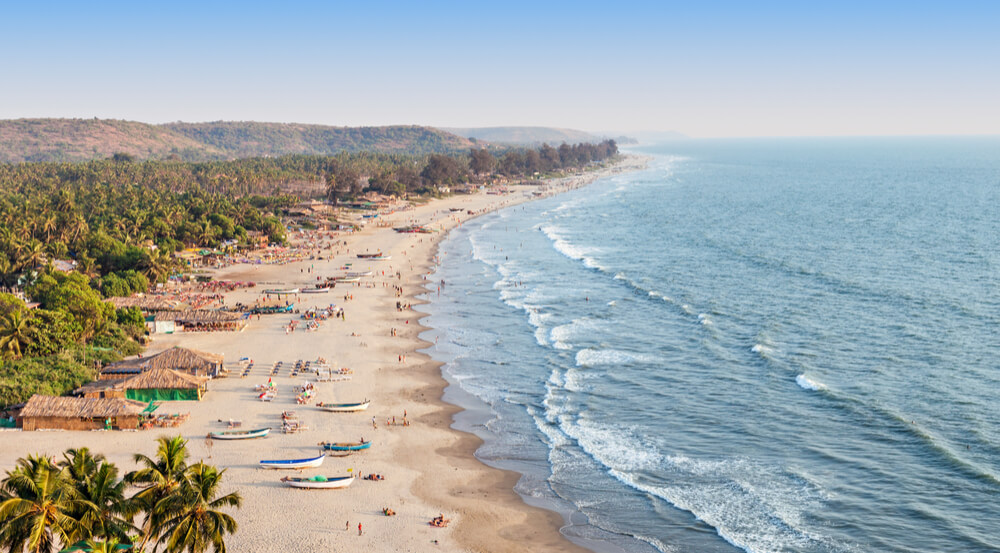 Beautiful Arambol beach aerial view landscape, Goa state in India