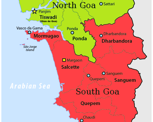 North and South Goa map