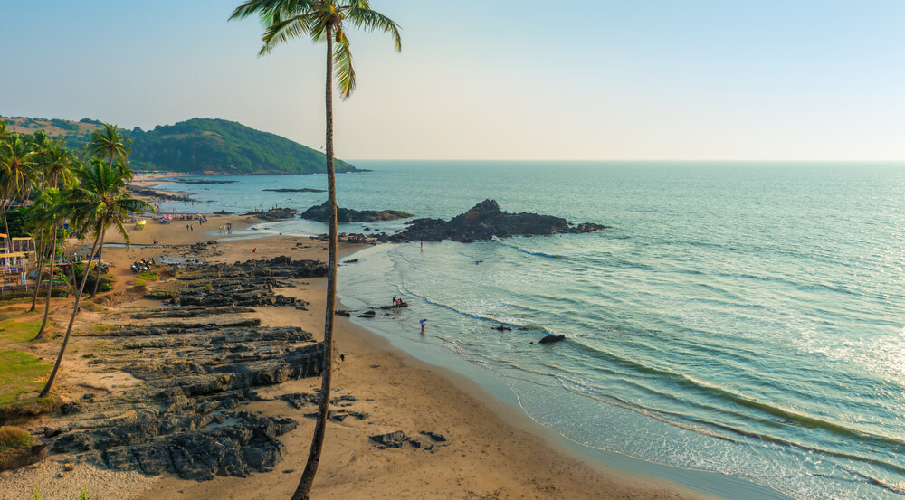 Top view of Vagator Beach in North Goa, India
