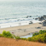 Chapora beach in February, view from Chapora Fort Hill in Goa, India