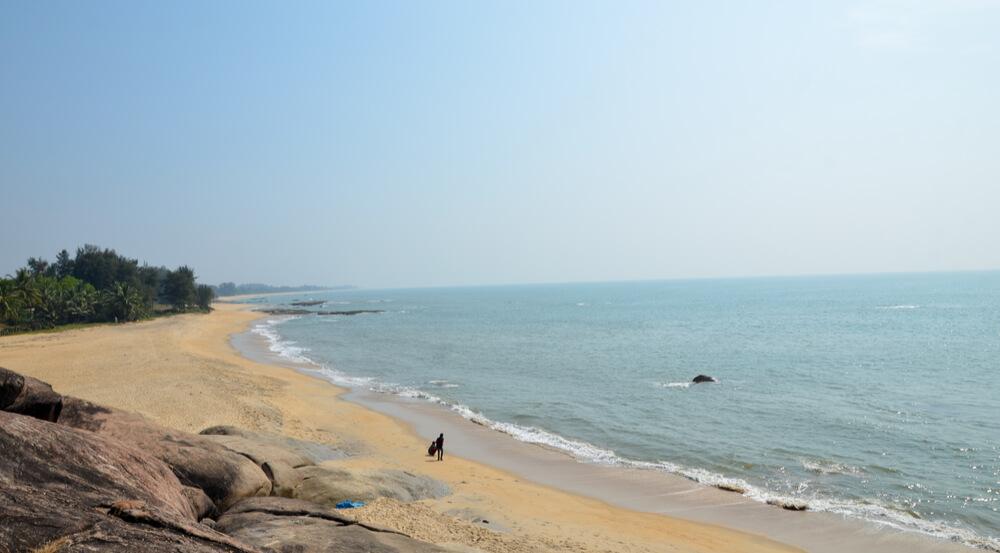 Beautiful scene of the rocky beach of Someshwar, Mangalore, Karnataka, India