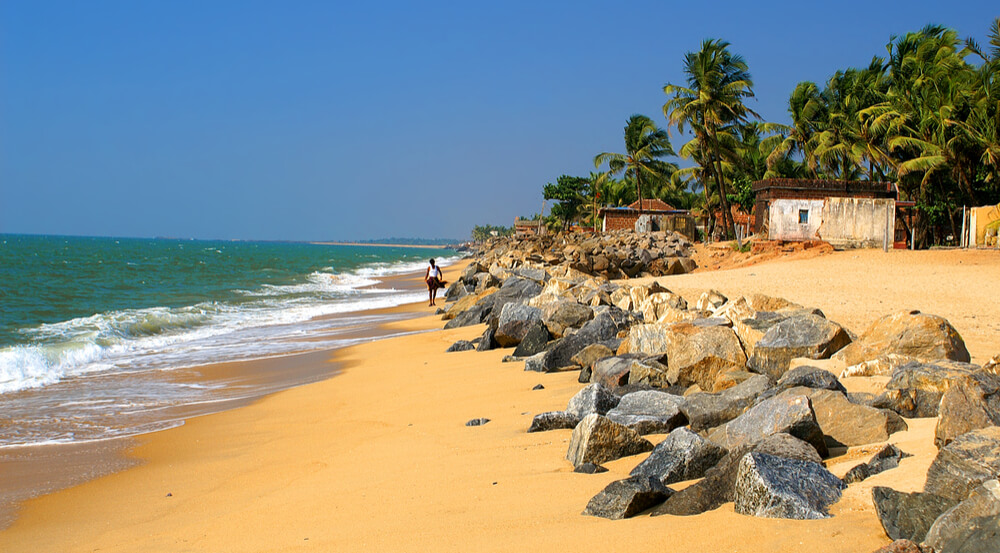 Beach of Ullal village near Mangalore with big stones, Karnataka, India
