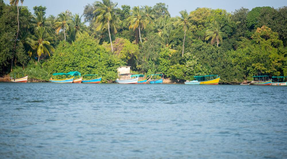 ourist boats at Devbag beach, Tarkarli, Malvan, Konkan, Maharashtra, India, Southeast Asia
