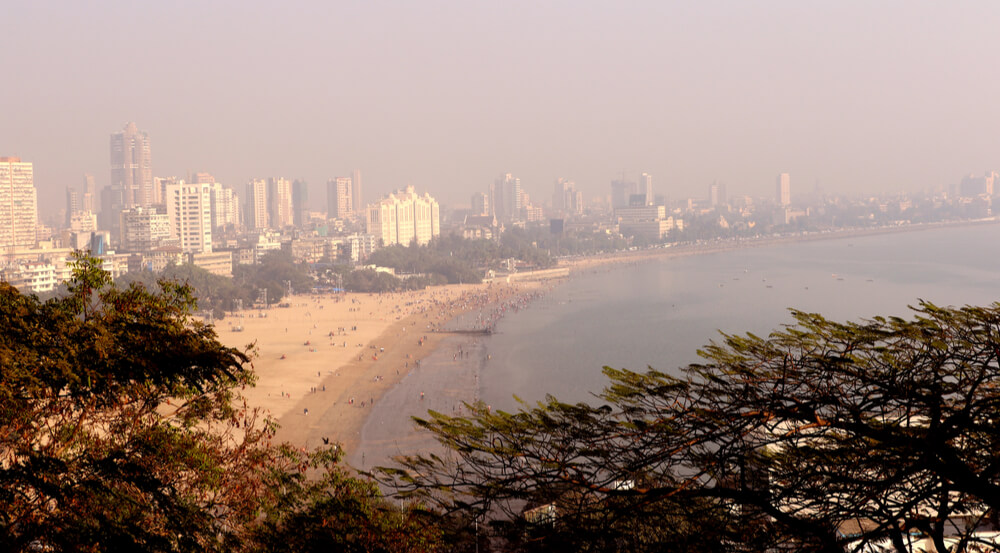 Mumbai, India - December 29, 2016: Girgaum Chowpatty Beach is one of the most famous beaches in Mumbai