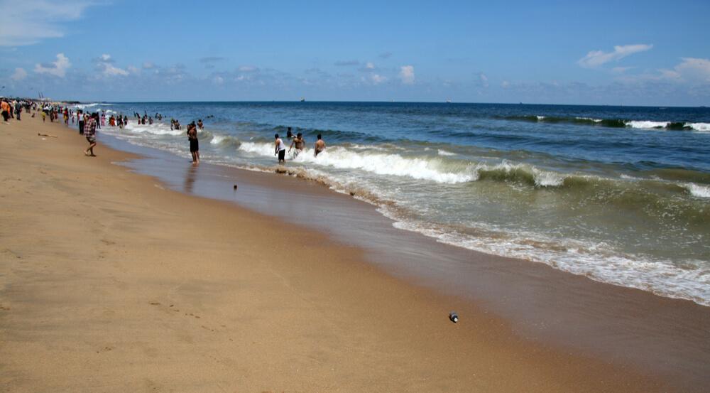 Local People in the Sea - Marina Beach, Chennai, India